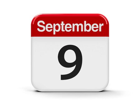 september 9th: Calendar web button - The Ninth of September - International Beauty Day, three-dimensional rendering, 3D illustration Stock Photo