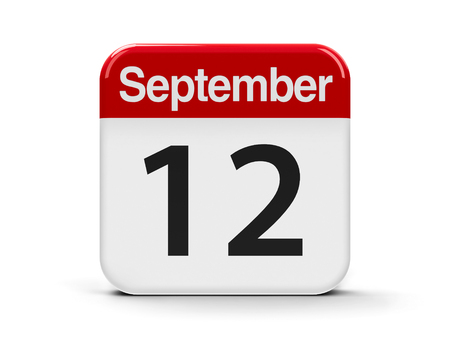 threedimensional: Calendar web button - The Twelfth of September, three-dimensional rendering, 3D illustration Stock Photo
