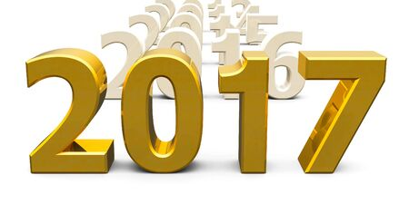 Gold 2017 come represents the new year 2017, three-dimensional rendering, 3D illustration