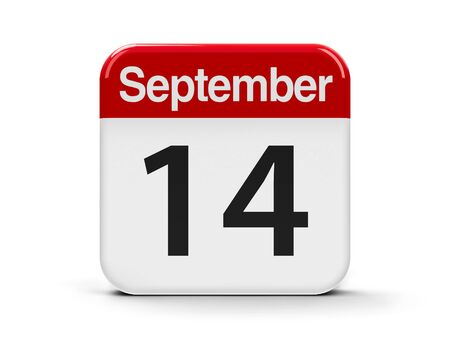 fourteenth: Calendar web button - The Fourteenth of September, three-dimensional rendering, 3D illustration