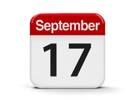 calendar day: Calendar web button - The Seventeenth of September - Constitution Day and Citizenship Day in USA, three-dimensional rendering, 3D illustration