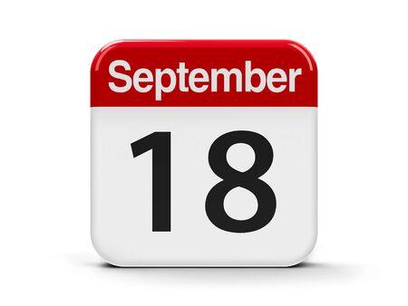 the eighteenth: Calendar web button - The Eighteenth of September, three-dimensional rendering, 3D illustration