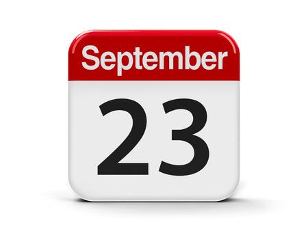 20 23 years: Calendar web button - The Twenty Third of September, three-dimensional rendering, 3D illustration