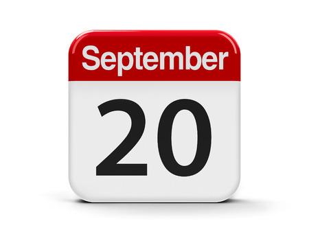 twentieth: Calendar web button - The Twentieth of September, three-dimensional rendering, 3D illustration