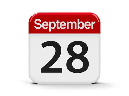 rabies: Calendar web button - The Twenty Eighth of September - World Rabies Day, three-dimensional rendering, 3D illustration Stock Photo