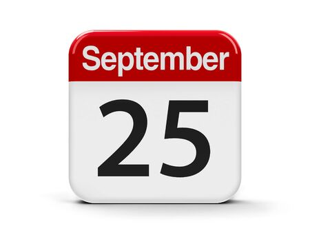 twenty fifth: Calendar web button - The Twenty Fifth of September - National Comic Book Day in USA, three-dimensional rendering, 3D illustration
