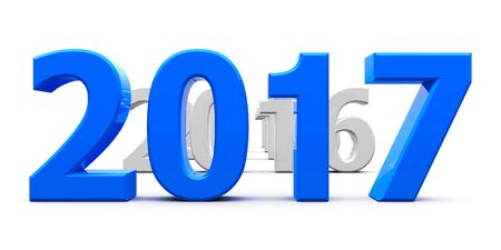 turns of the year: Blue 2017 come represents the new year 2017, three-dimensional rendering, 3D illustration Stock Photo