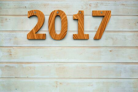 siding: Three-dimensional rendering of wooden 2017 on the wooden background, represents the new year 2017, 3D illustration Stock Photo