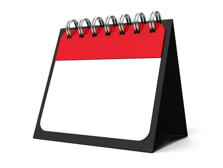 threedimensional: Blank paper calendar icon with spiral, three-dimensional rendering, 3D illustration
