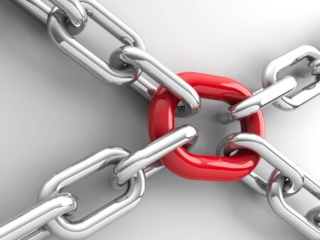 team cooperation: Chains with red link - team cooperation concept, three-dimensional rendering, 3D illustration Stock Photo