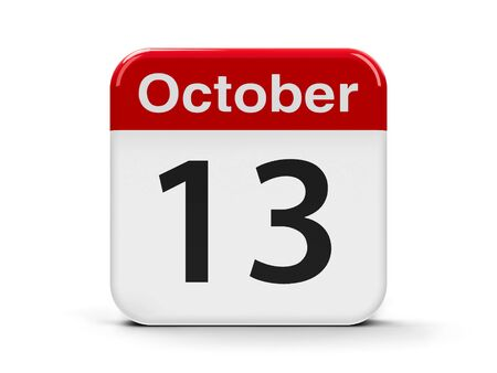 friday 13th: Calendar web button - The Thirteenth of October - International Day for Disaster Reduction, three-dimensional rendering, 3D illustration Stock Photo