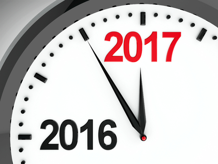 turns of the year: Black clock with 2016-2017 change represents coming new year 2017, three-dimensional rendering, 3D illustration