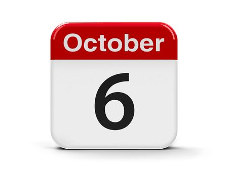 sixth: Calendar web button - The Sixth of October, three-dimensional rendering, 3D illustration