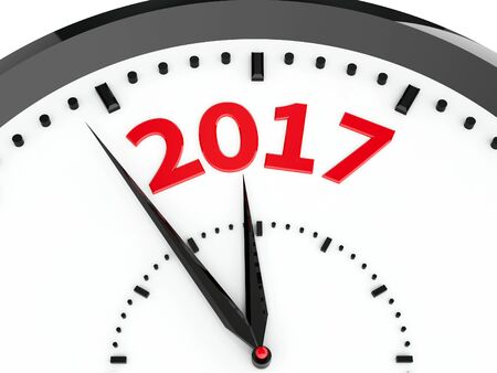 threedimensional: Black clock with 2017 represents coming new year 2017, three-dimensional rendering, 3D illustration