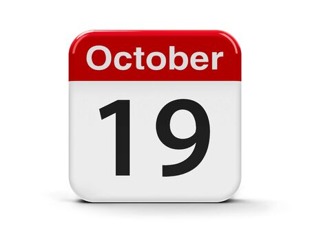 nineteenth: Calendar web button - The Nineteenth of October, three-dimensional rendering, 3D illustration Stock Photo