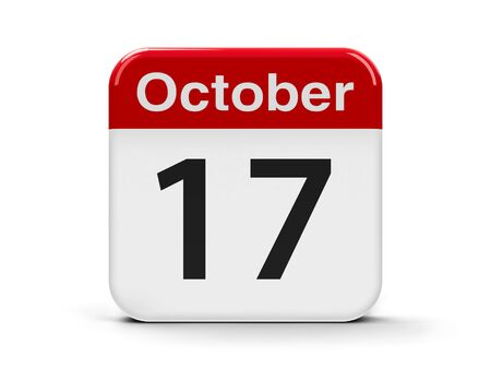 seventeenth: Calendar web button - The Seventeenth of October - International Day for the Eradication of Poverty, three-dimensional rendering, 3D illustration Stock Photo