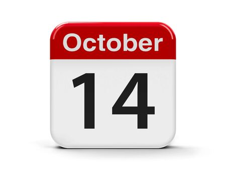 fourteenth: Calendar web button - The Fourteenth of October - World Standards Day, three-dimensional rendering, 3D illustration