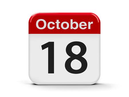 calendar day: Calendar web button - The Eighteenth of October - Alaska Day, three-dimensional rendering, 3D illustration