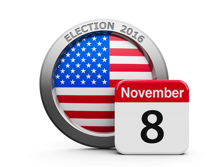 Emblem of USA with calendar button - The Eighth of November - represents the Election Day 2016 in USA, three-dimensional rendering, 3D illustration