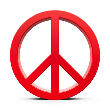 anti nuclear: Red peace symbol isolated on white background, three-dimensional rendering, 3D illustration
