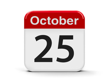 fifth: Calendar web button - The Twenty Fifth of October, three-dimensional rendering, 3D illustration
