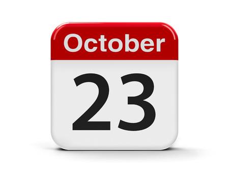 20 23 years: Calendar web button - The Twenty Third of October, three-dimensional rendering, 3D illustration