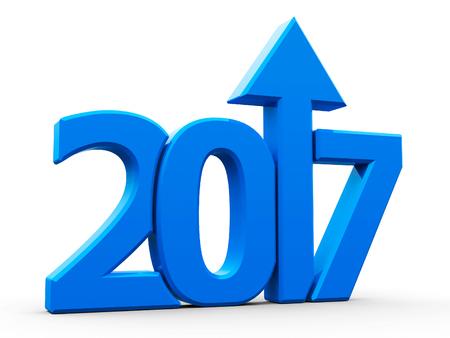 Blu 2017 con la freccia in su isolato su sfondo bianco, rappresenta la crescita nel nuovo anno 2017, rendering tridimensionale, illustrazione 3D Archivio Fotografico