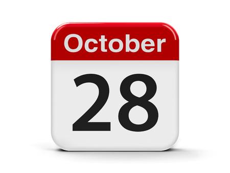 3d animation: Calendar web button - The Twenty Eighth of October - International Animation Day, three-dimensional rendering, 3D illustration