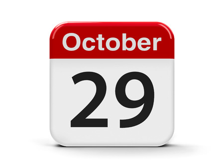 ninth: Calendar web button - The Twenty Ninth of October - World Stroke Day and Republic Day in Turkey, three-dimensional rendering, 3D illustration Stock Photo