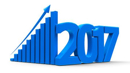 Grafico di business blu con freccia in su e simbolo 2017, rappresenta la crescita nel nuovo anno 2017, rendering tridimensionale, illustrazione 3D