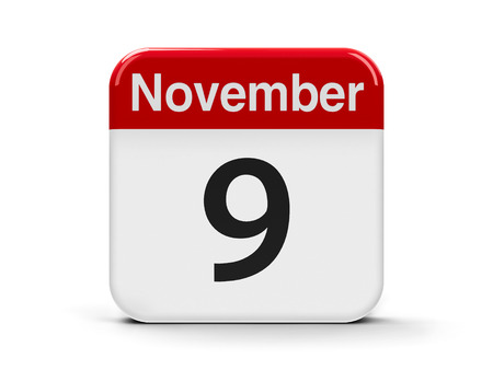 ninth: Calendar web button - The Ninth of November - International Day Against Fascism, Racism and Antisemitism, three-dimensional rendering, 3D illustration Stock Photo