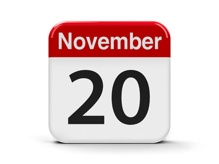 Calendar web button - The Twentieth of November - Universal Childrens Day and Africa Industrialization Day, three-dimensional rendering, 3D illustration