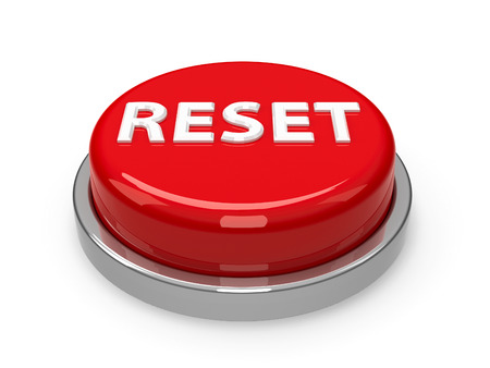 Red reset button isolated on white background, three-dimensional rendering, 3D illustration Banco de Imagens