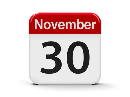 computer button: Calendar web button - The Thirtieth of November - World Day Pets and Computer Security Day, three-dimensional rendering, 3D illustration Stock Photo