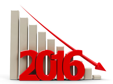 regress: Red business graph with red arrow down, represents decrease in the year 2016, three-dimensional rendering, 3D illustration
