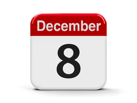 eighth: Calendar web button - The Eighth of December, three-dimensional rendering, 3D illustration