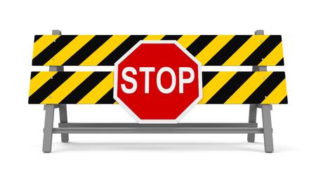 amarillo y negro: barrera de reparación con señal de stop sobre fondo blanco representa el trabajo en curso, representación tridimensional, ilustración 3D Foto de archivo