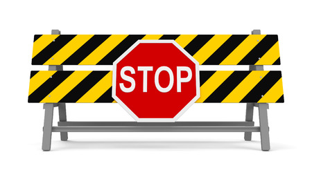 black yellow: Repair barrier with STOP sign on a white background represents work in progress, three-dimensional rendering, 3D illustration