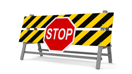 Repair barrier with STOP sign on a white background represents work in progress, three-dimensional rendering, 3D illustration