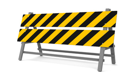 bollard: Repair barrier on a white background represents work in progress, three-dimensional rendering, 3D illustration
