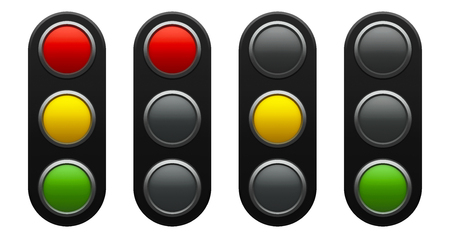 Traffic light schematic - red, yellow, green - isolated on white background, three-dimensional rendering, 3D illustration