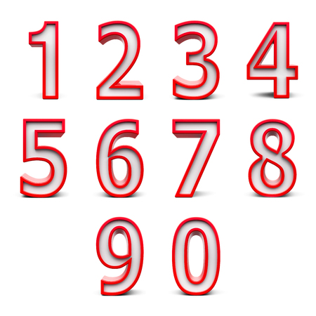 web 2 0: Red numbers set from 0 to 9 isolated on white background, three-dimensional rendering, 3D illustration