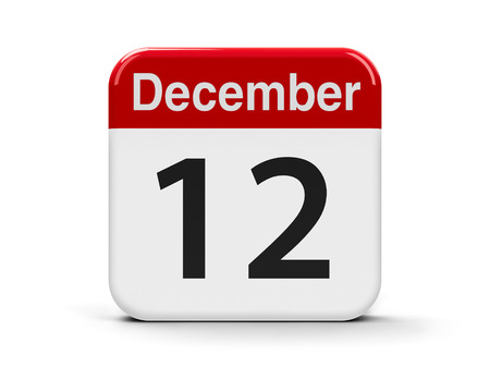 mon 12: Calendar web button - The Twelfth of December, three-dimensional rendering, 3D illustration Stock Photo