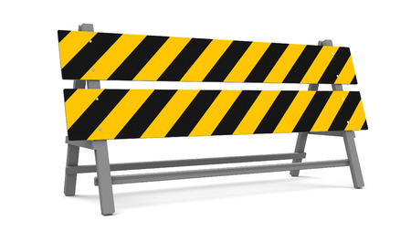 roadwork: Repair barrier on a white background represents work in progress, three-dimensional rendering, 3D illustration