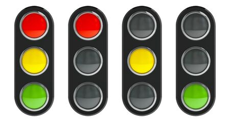 tricolour: Traffic light schematic - red, yellow, green - isolated on white background, three-dimensional rendering, 3D illustration