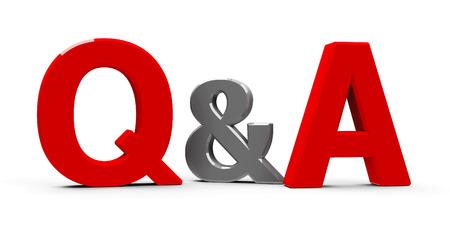 Red Q & A - Perguntas e respostas - símbolo ou ícones isolados no fundo branco, renderização tridimensional, ilustração 3D