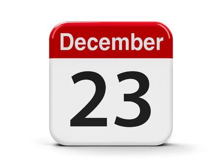 20 23 years: Calendar web button - The Twenty Third of December, three-dimensional rendering, 3D illustration Stock Photo