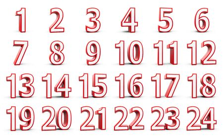 Red numbers set from 1 to 24 - represents christmas calendar - isolated on white background, three-dimensional rendering, 3D illustration