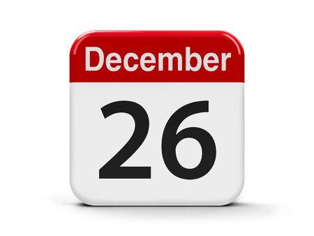 twenty sixth: Calendar web button - The Twenty Sixth of December - Boxing Day, three-dimensional rendering, 3D illustration Stock Photo