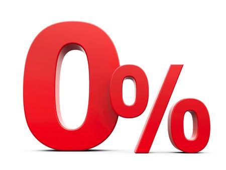 Red Null-Prozent-Zeichen auf weißem Hintergrund, dreidimensionale Wiedergabe, 3D-Darstellung Standard-Bild - 68122265